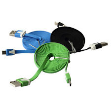 Noodle Flat Micro USB Sync Data Charger Cable Cord For Smart Phone 1/2/3M Best