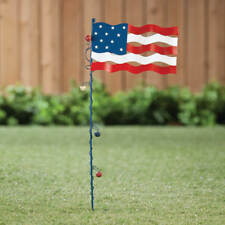 July 4th Metal Rustic Flagpole Pick with American Flag-Flying Flag Stake
