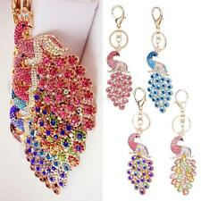 Fashion Crystal Peacock Pendant Key Ring Charm Keychain for Girls Womens Gifts