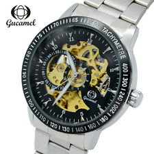 Automatic Mechanical Watch Men Skeleton Stainless Steel Leather Wrist Watch New