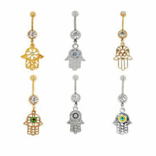 Belly Bars Crystal Dangle Hamsa Drop Body Piercing Belly Button Ring Navel Bar
