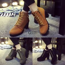 Womens Fashion High Heel Lace Up Ankle Boots Ladies Zipper Buckle Platform TXGT