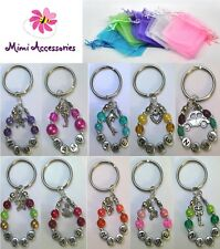 Personalised Keyring Charm Any Name Bead Silver Gift Present Party Bag Loot