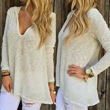 Womens Casual Solid Color Hoodie Long Sleeve Blouse Tops V-Neck Shirts Hooded