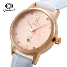 Luxury Women Dress Watch Genuine Leather Lady Date Analog Quartz Wrist Watch New