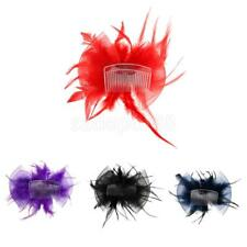 Flower Feather Hair Clip Brooch Pin Ladies Hair Accessory Wedding Prom Party
