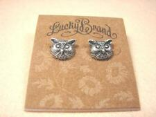 NEW LUCKY BRAND OWL SILVER GOLD TONE VINTAGE PUNK STUD EARRINGS
