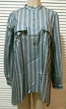 NEW! Elizabeth and James Striped Silk Blouse Blue/Grey Size Small