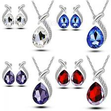 Women Crystal Chic Pendant Necklace Set Stud Earring Silver Plated