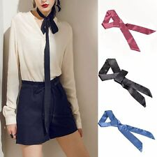 Fashion Clothes Accessory Long Stain Solid Tie Real Silk  Skinny Scarf