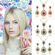 Charm Fashion Necklace Earrings Set Jewelry Crystal Wedding Bridal Water Drop