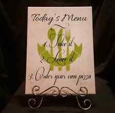 Today's Menu Funny Tiles with Saying and Stand Home Decor Kitchen Decorative