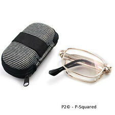 P2 Folding Reading Glasses, Metal Frames, Readers, Cheaters - 2 for 1 Sales USA