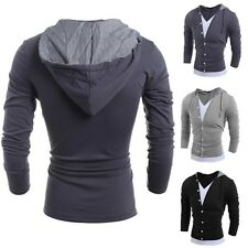 Mens Slim Fit Long Sleeve V-neck Cotton Shirt Casual T-Shirt Hooded Tee Tops