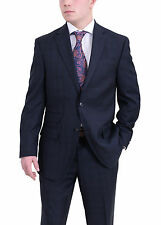 Sean John Classic Fit Navy Blue Tonal Plaid Two Button Suit With Ticket Pocket