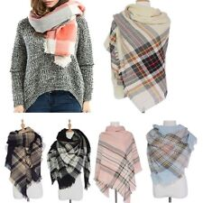 Women Cozy Checked Pashmina Oversized Tartan Scarf Plaid Blanket Wrap Shawl