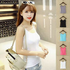 Ladies Womens Summer Casual Fitted Sleeveless Tank Top T-shirt Vest Cami Blouse