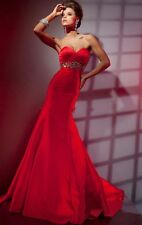 Sweetheart Mermaid Red Chiffon Silver Beading Evening Dresses Custom Made