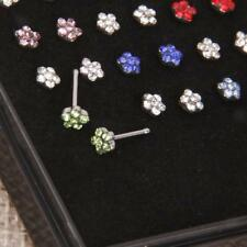 Wholesal 24pcs Surgical Steel Crystal Flower Nose Studs Body Piercing Jewelry