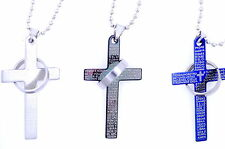 Unique Titanium Stainless Steel Cross Lord's Prayer and Halo Ring Necklace abus