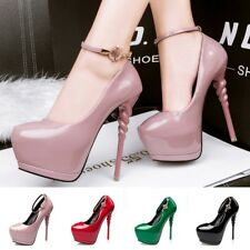 Chic Ankle Strap High Heel Solid Stiletto Platform Rhinestone Pump Womens Shoes