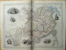 ORIGINAL 1851 ANTIQUE TALLIS RAPKIN MAP : CHINA & BURMA