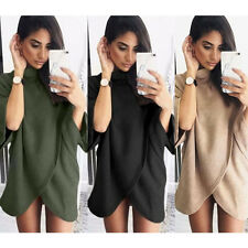 Fashion Women Batwing Sleeve Knitted Sweater Tops Loose Cardigan Coat Mini Dress