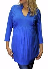 Blue Long Sleeve Maternity Blouse Tie on Back Solid S M L XL