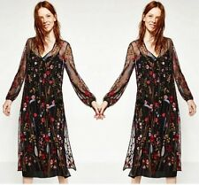 Women Embroidery Sexy Dress Net Yarn Lace Crochet Smock Perspective Long Dress