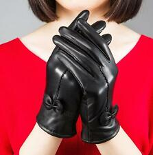 XMAS GIFT Womens Winter Warm Genuine Lambskin Leather Driving Soft Lining Gloves