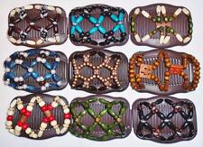 Double Magic Hair Combs, African Style Butterfly Clips, Brown Combs, S20