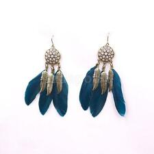 Women Retro Bohemia Boho Feather Tassel Eardrop Style Dangle Earrings