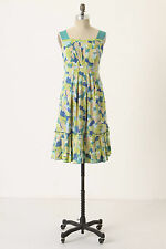 Anthropologie Fresh Current Dress Sz 4, Green Floral Sundress, Girls From Savoy