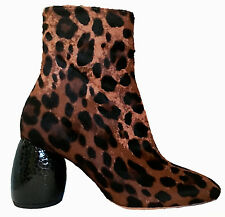 NWT DRIES VAN NOTEN LEOPARD PRINT CALF HAIR LEATHER BOOTS IT 37