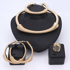 Fashion Women Wedding Party Alloy Necklace Earring Ring African Jewelry Sets