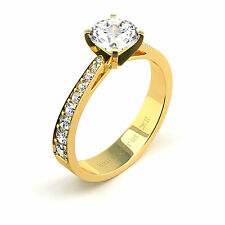 1.30 Ct Round G/I1 Diamond Solitaire Engagement Ring 14K Yellow Gold Enhanced