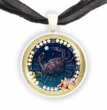 "Cancer the Crab Illustration 1"" Zodiac Pendant Necklace in Silver Tone"