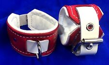 """Handmade leather wrist cuffs with connector 2 1/4"""" wide Bondage restraint ankle"""