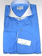 $195 NWT EMMETT LONDON 15 16 16.5 17 17.5 BLUE cutaway SLIM cotton dress shirt