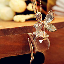Fashion Crystal Angel Wings Long Chain Necklace Butterfly Fairy Necklace  SN