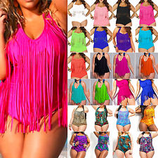 Plus Size Women's Swimsuit Push Up Padded Tassel Bikini Sets High Waist Swimwear