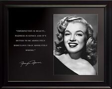 """Marilyn Monroe Photo Picture, Poster or Framed Famous Quote """"Imperfection Is.."""""""