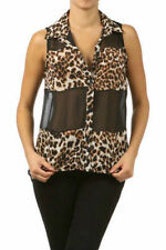 Size S M Top Chiffon Leopard Sheer Sleeveless Brown High Low Hem New Sexy