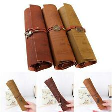 Retro Pirate Treasure Map Roll Up PU Leather Pen Pencil Case Make Up Bag Tool FW