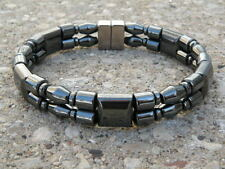 Men's Women's Magnetic 100% BLACK Hematite Bracelet Anklet 2 row Super Strong