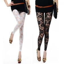 Sexy Footless Pants Leggings Rose Hollow Lace
