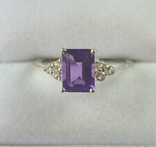 1.65 Carats Genuine Purple Amethyst & White Topaz 925 Sterling Silver Ring