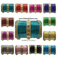 PACK OF 24 MIRROR INDIAN BANGLES CHURI BOLLYWOOD JEWELLERY SET