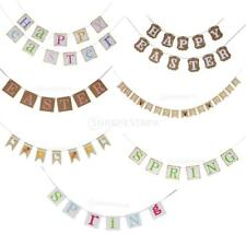 Rustic Happy Easter Bunting Banner Hanging Garland Easter Party Fashion Ornament