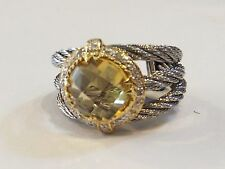 CHARRIOL STEEL & 18K GOLD DIAMONDS CITRINE AND CABLE LADIES RING AUTHENTIC